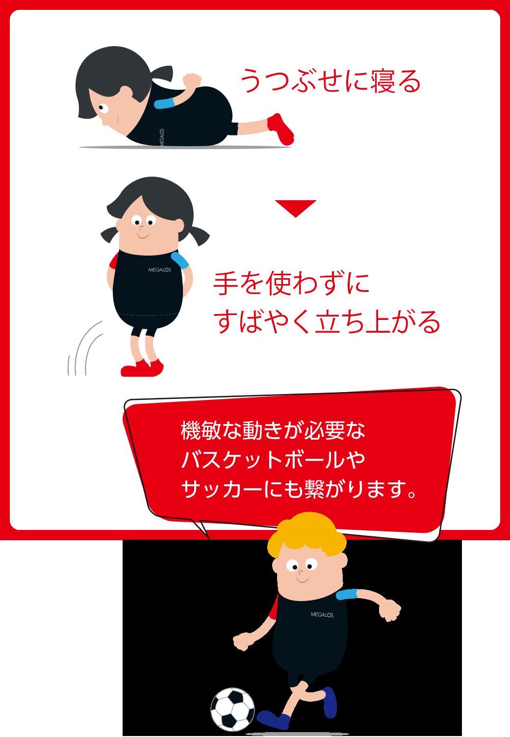 うつぶせに寝る 手を使わずにすばやく立ち上がる 機敏な動きが必要なバスケットボールやサッカーにも繋がります。