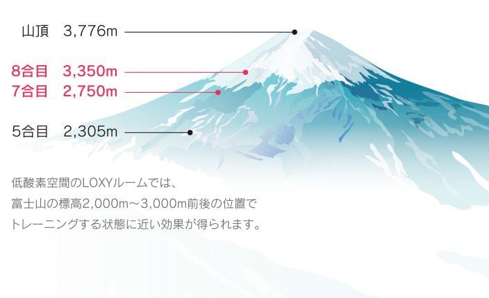 低酸素空間のLOXYルームでは、富士山の標高2,000m〜3,000m前後の位置でトレーニングする状態に近い効果が得られます。
